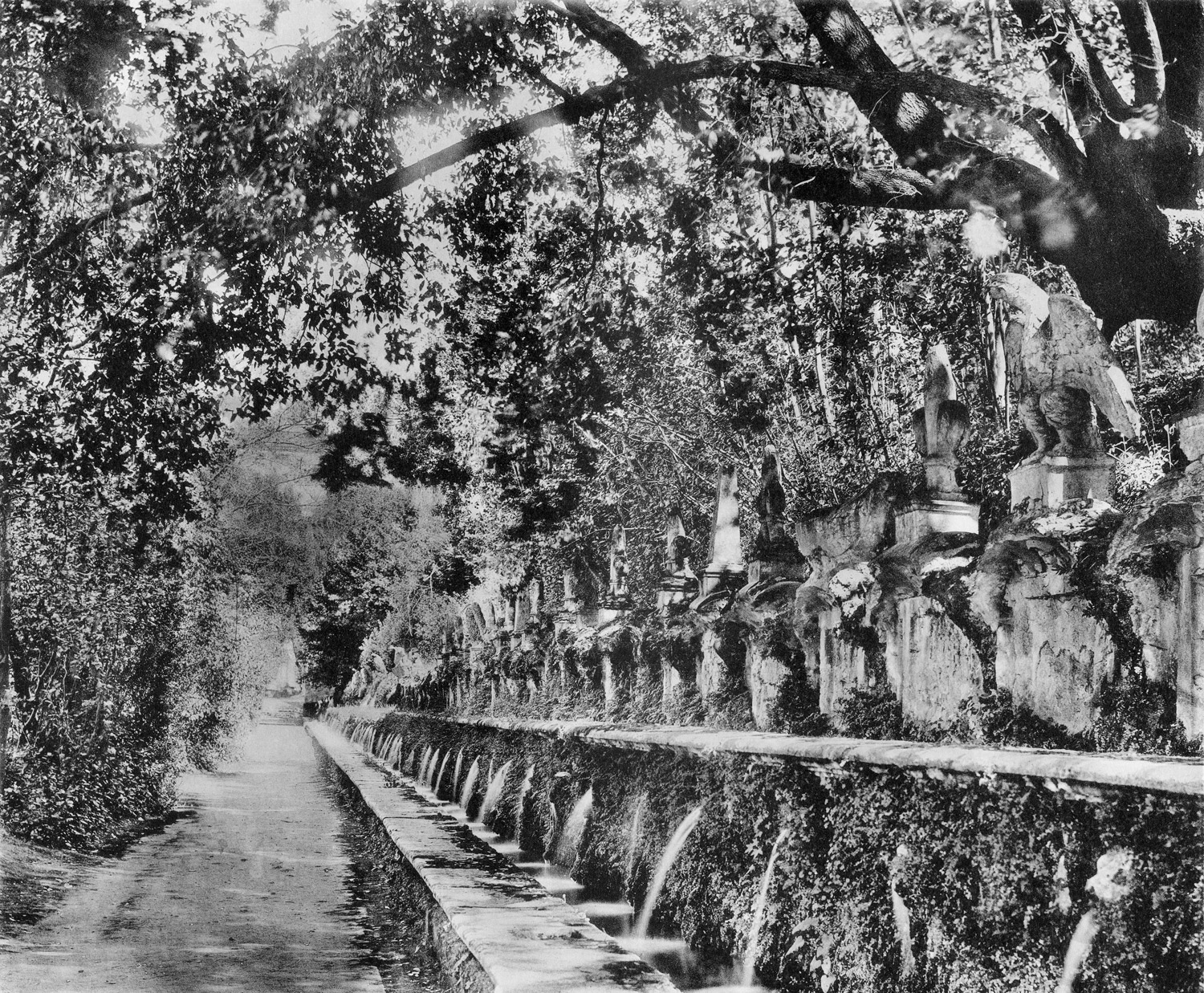the terrace of fountains (Avenue of a Hundred Fountains) at Villa D'Este, from The Art of Garden Design in Italy by H. Inigo Triggs, 1906.